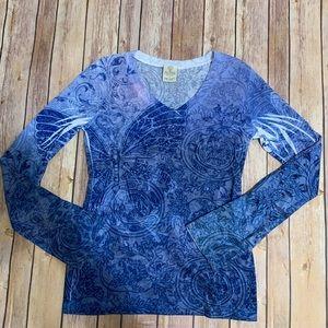 Lightweight Long Sleeve Vneck Soft Feel Fabric